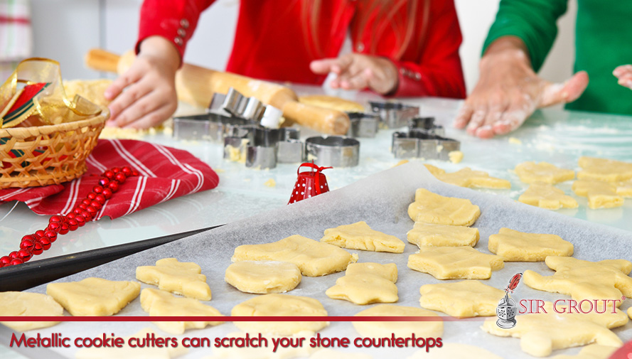Metallic cookie cutters can scratch your countertops