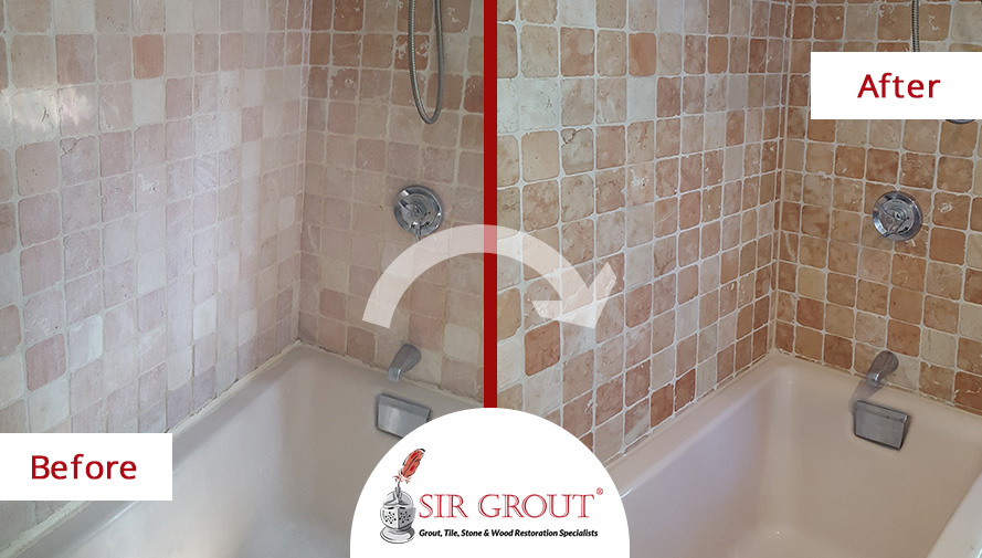 Before and After Picture of a Travertine Shower Restored with a Cleaning and Sealing Service
