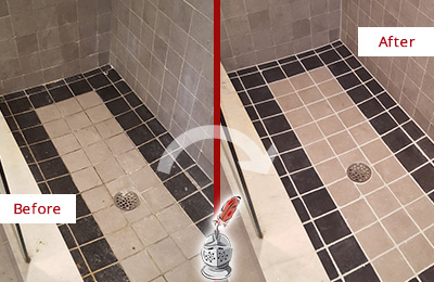 Before and After Picture of a Stone Cleaning and Sealing on Natural Stone