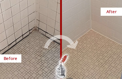 ... Before And After Picture Of A Stone Cleaning And Sealing On A Tile  Shower