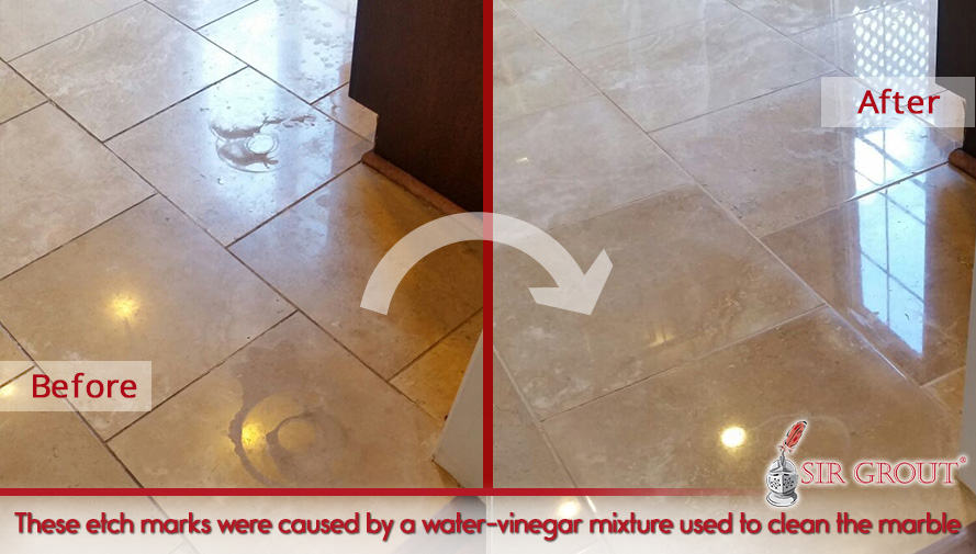 Picture of a Stained Marble Floor Before and After a Honing and Polishing Service