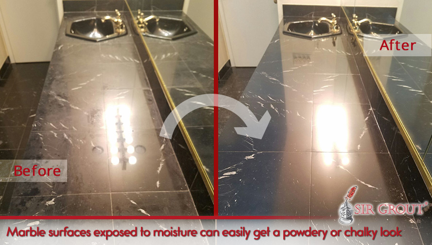 Picture of a Black Marble Vanity Top Before and After a Honing and Polishing Job