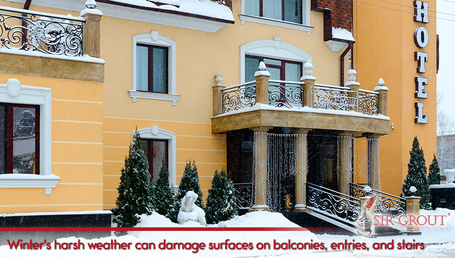 Winter's harsh weather can damage surfaces on balconies, entries and stairs