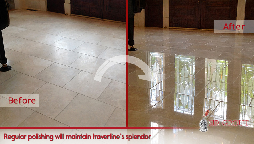 Regular polishing will maintain travertine's splendor