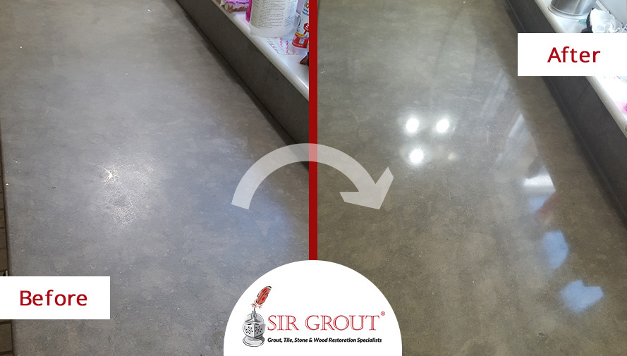 Before and After Picture of a Limestone Countertop Sealing Service