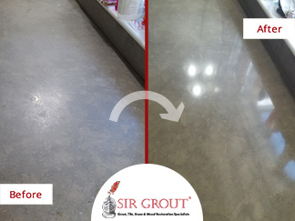 Before and After Picture of a Stone Countertop Sealing