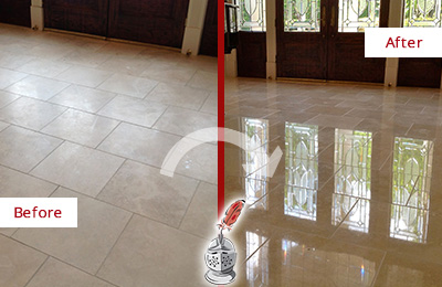 Before and After Picture of Restoration of a Dull Travertine Floor