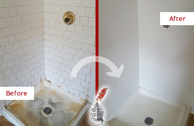 ... Before And After Picture Of A White Shower Cleaned And Sealed To Look  Like New