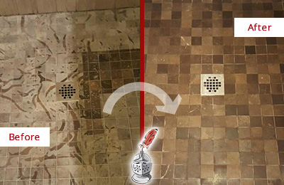 Before and After Picture of Marble Shower Floor Honed and Polished to Remove Etching