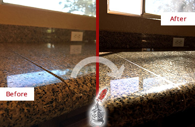 Before and After Picture of a Honed and Polished Granite Countertop with Damaged Seam-line