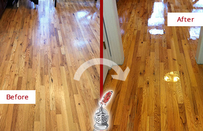 Before and After Picture of Refinishing Service on a Wood Floor
