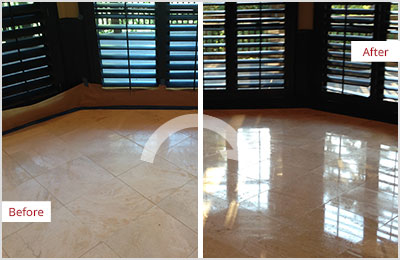 Sir Grout Tan Marble Stone Honing and Polishing
