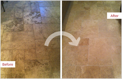Sir Grout Tan Marble Clean and ClearSeal