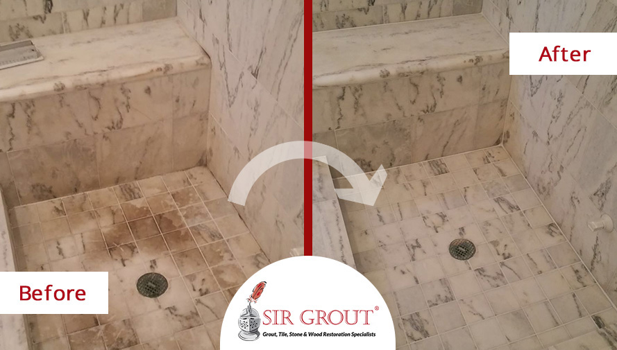 Before and After Picture of a Stained Marble Shower