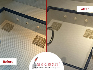 Before and After Picture of a Jacuzzi Grout Sealing Service