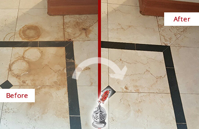 Before and After Picture of a Marble Stone Floor Stained with Rust