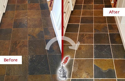 Before and After Picture of a Slate Floor Stone and Grout Cleaning