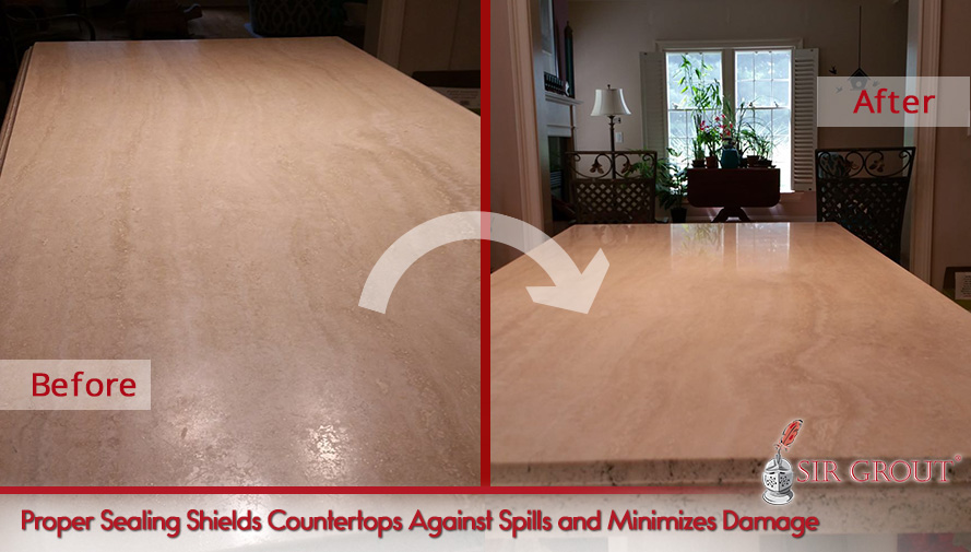 Before and After Picture of a Stone Cleaning and Sealing on a Dull Countertop