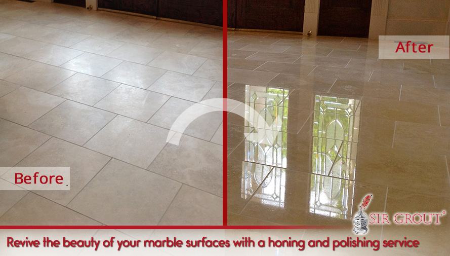 Picture of a Marble Surface Before and After a Honing and Polishing Service