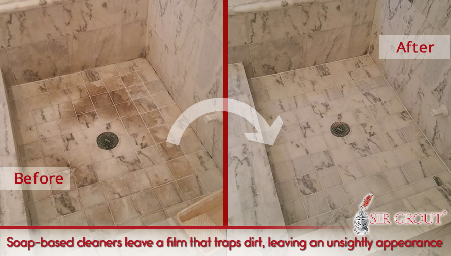 Picture of a Marble Shower Floor Before and After a Honing and Polishing Service