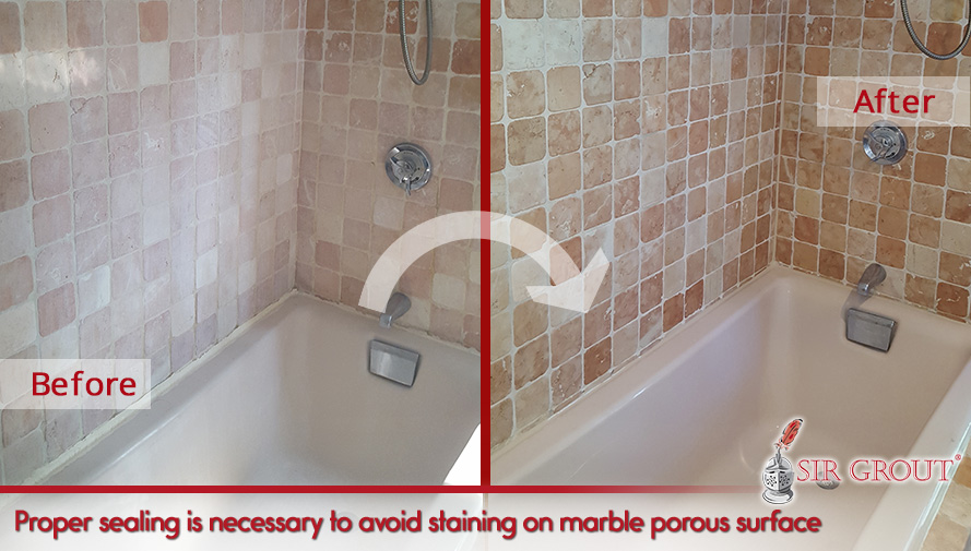 Picture of a Tumbled Marble Shower Before and After a Honing and Polishing Job