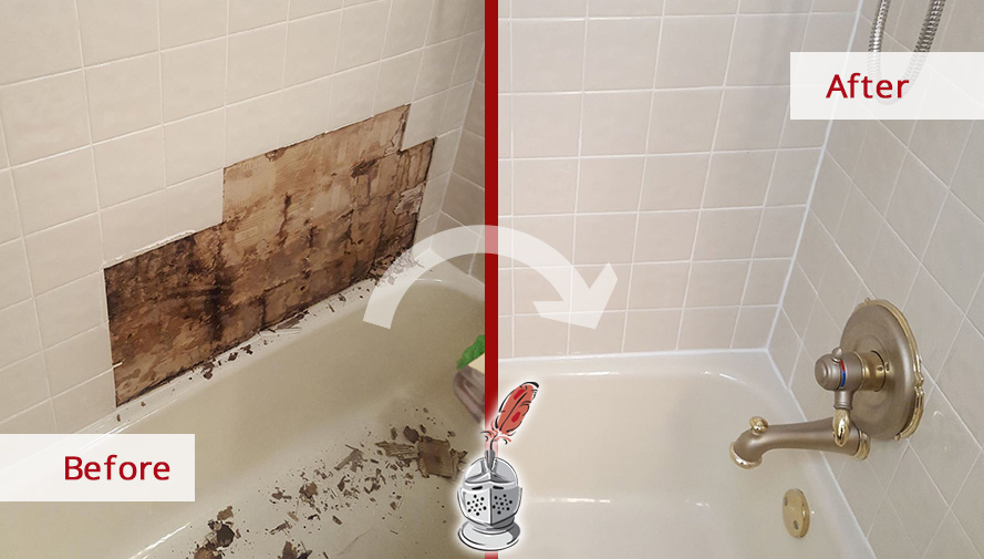Before and After Picture of Repairing of Water Damage Behind a Tile Wall
