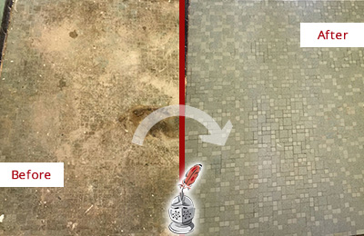 Before and After Picture of Water Damage Repair on a Tile Floor