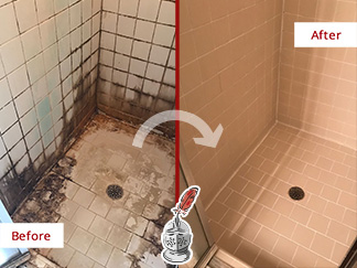 Before and After Picture of Severe Water Damage Repair on a Tile Shower