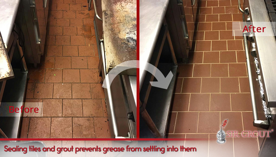 Sealing tiles and grout prevents grease from settling into them