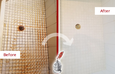Picture of White Tile Shower with Heavy Rust Stains