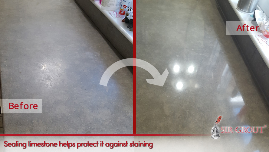 Sealing limestone countertop helps protect it against staining and etching