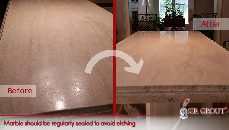 Marble countertops should be regularly sealed to avoid etching