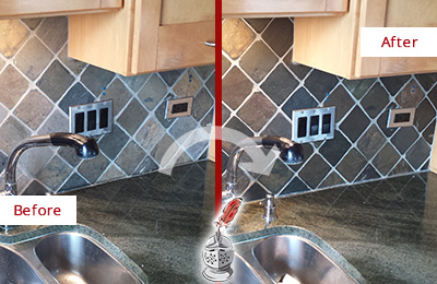 Before and After Picture of a Professional Caulking Service on a Kitchen Backsplash