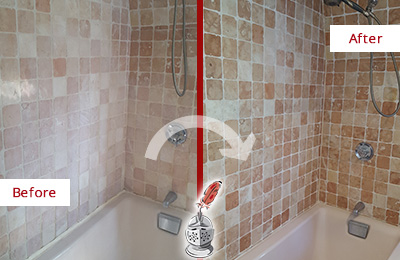 Picture of a Travertine Shower Before and After Maintenance and Sealing