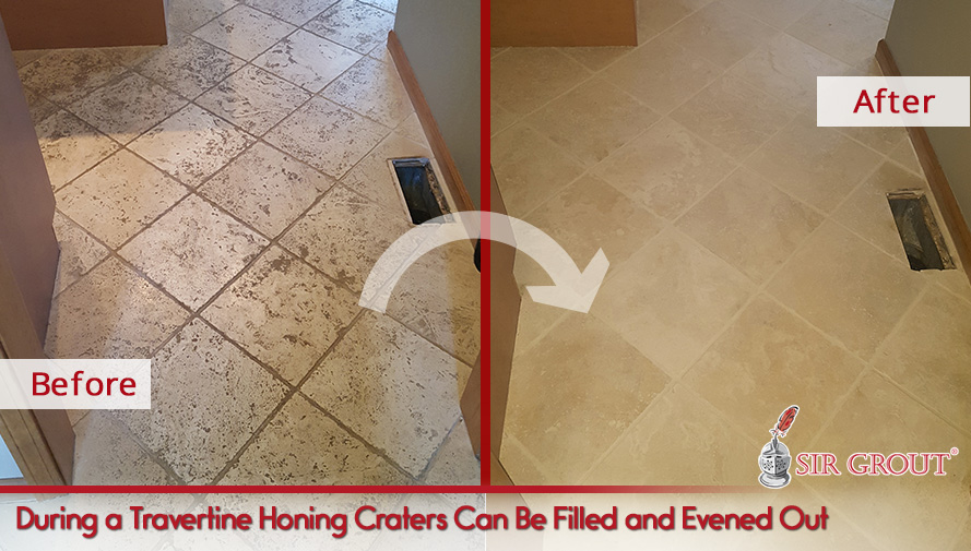 Picture of a Travertine Floor Before and After Honing