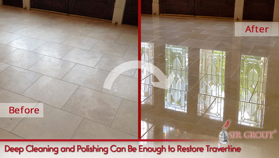 Picture of a Travertine Floor Before and After Professional Cleaning and Polishing