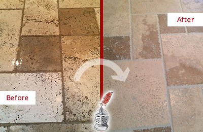 Picture of Travertine Floor Before and After Maintenance and Cleaning