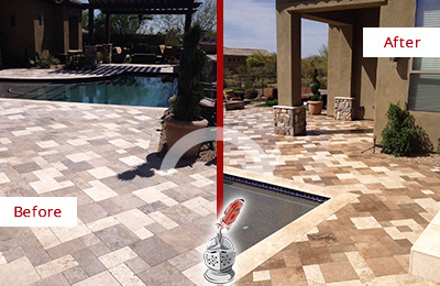 Picture of a Travertine Patio Before and After Maintenance