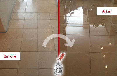 Picture of a Travertine Shower Before and After Professional Polishing and Maintenance