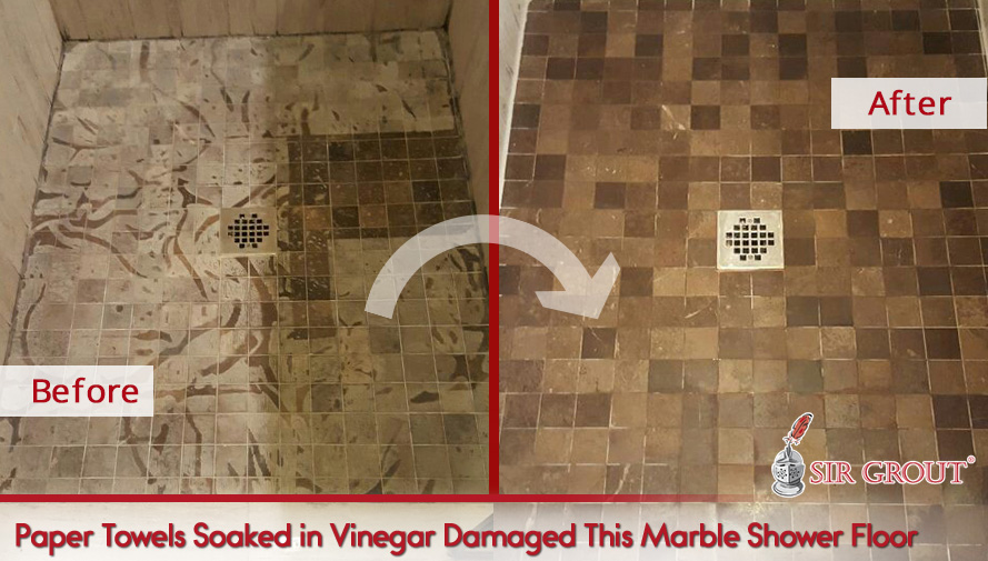 Paper Towels Soaked in Vinegar Damaged This Marble Shower Floor