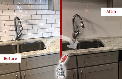 Picture of a Backsplash Before and After Grout Re-coloring