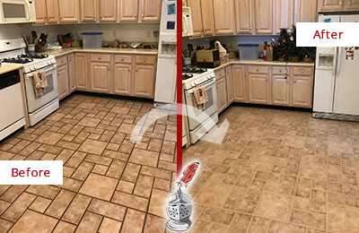 Picture of a Kitchen Floor Before and After Grout Recoloring
