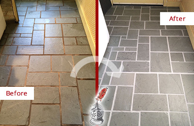 Picture of Slate Tiles Floor Before and After Cracked Grout Repair