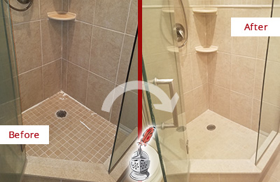 Picture of Beige Tile Shower Before and After Damaged Grout Restoration