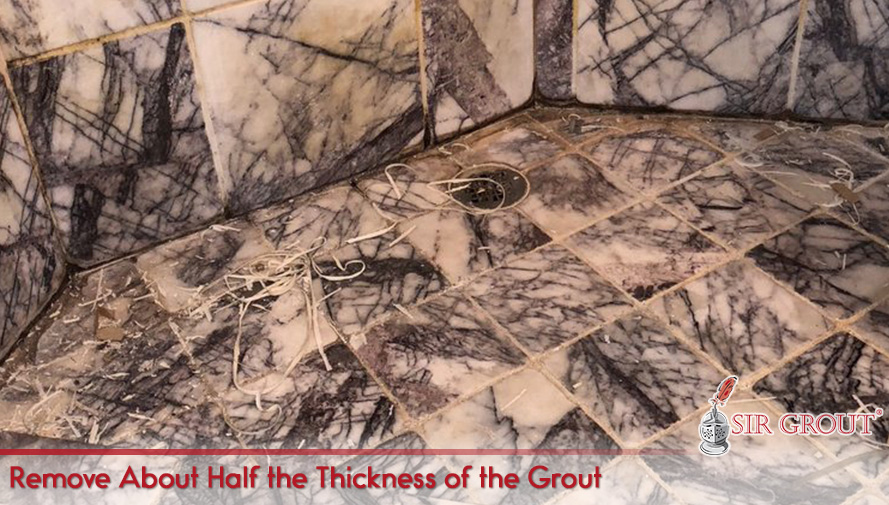 Remove About Half the Thickness of the Grout