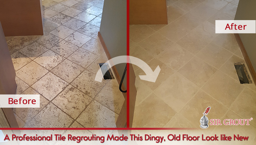 A Professional Tile Regrouting Made This Dingy, Old Floor Look like New
