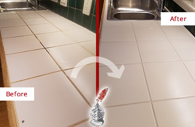Picture of Tile Countertop Before and After Grout Cleaning
