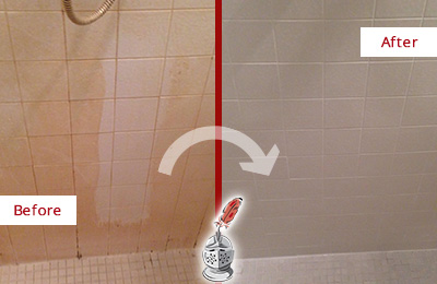 Picture of White Tile Shower with Embedded Grime
