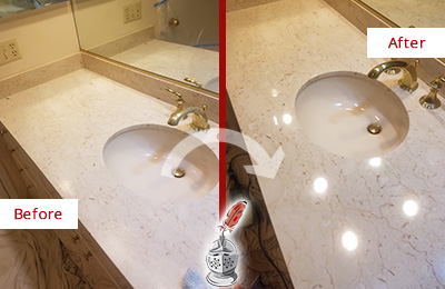 Before and After Picture of a Marble Stone Cleaning and Sealing