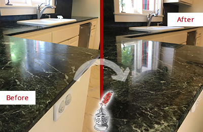 Before and After Picture of a Black Marble Countertop Restored to Remove Water Marks